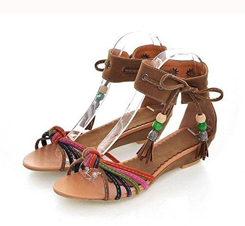 Chfso Dames Plus Patent Pu Wedge Enkelbandje Hanger Sandalen Schoenen Geel