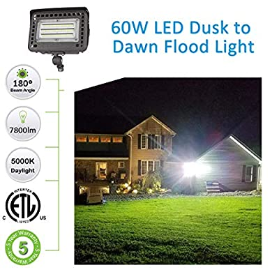 SZGMJIA 60W LED Flood Light with Knuckle, Dusk-to-Dawn Photocell, CREE LED 5000K 7800lm(300W Equivalent), 5-Year Warranty,Waterproof Security Light