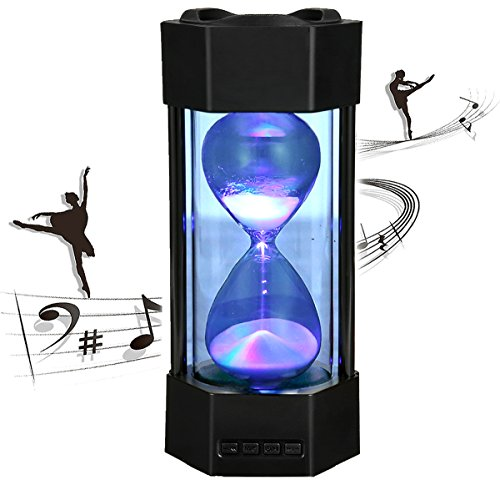 Bluetooth Speaker Wireless AUX Output Subwoofer Bluetooth 4.2 Mobile Speaker with Time Hourglass (Black)