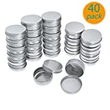 Yarachel Pack of 40 Screw Top Round Aluminum Tins Cans - Aluminum Screw Lid Round Tin Container Bottle