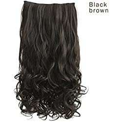 "REECHO 14"" Short Length 1-Pack 3/4 Full Head Curly Wavy Clips in on Synthetic Hair Extensions Hairpieces for Women 5 Clips 3.6 Oz per Piece - Black Brown"
