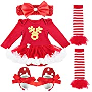 iEFiEL Baby Girls Christmas Picture Skirt Bodysuit Headband Leg Warmer Shoes Set (0-3 Months, Xmas Deer)