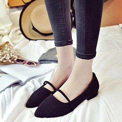 Binmer(TM) Fashion Women Casual Comfortable Pointed Toe Rubber Women Flat Shoe Flats Black PXMvQuUbO
