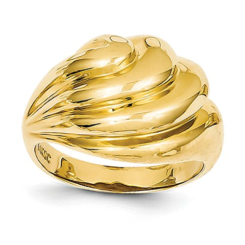 14k Yellow Gold Polished Swirl Dome Ring (Dome Swirl Ring Polished)