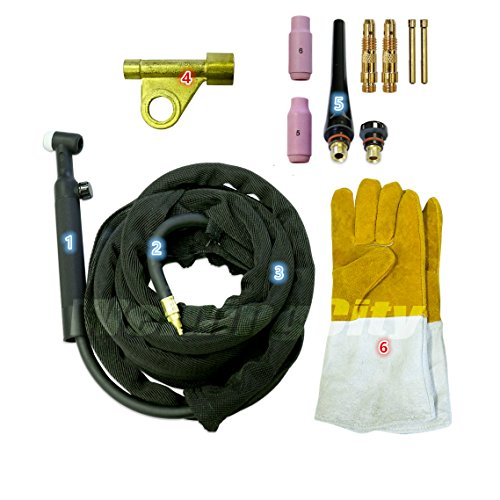 WeldingCity TIG Welding Torch WP-17V-25R (Gas-Valve Head) Complete Ready-to-Go Package Air-Cool 25-foot Cable 150Amp w/Gift (Valve Torch Package)