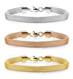 Jstyle 3 PCS Mesh Bracelet Stainless Steel chain Link Bracelets for Women Girls 7'' 3pcs