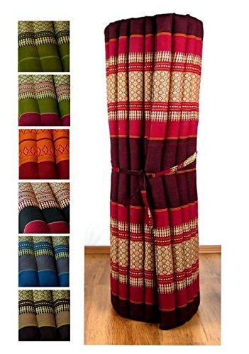 Kapok Liegematte der Marke Asia Wohnstudio, 200cm x 110cm x 4,5cm; Rollmatte bzw. Yogamatte, Thaimatte, Thaikissen als asiatische Rollmatratze (pink)