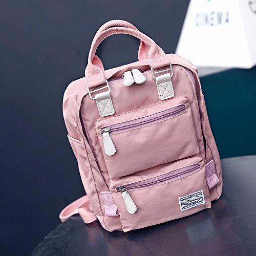 Mochila de Nylon repelente al agua las alumnas de pequeñas mochilas escolares mini mochila gules Pink