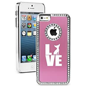 """Apple iPhone 6 Plus (5.5"""") Rhinestone Crystal Bling Hard Case Cover Love Chihuahua (Pink)"""