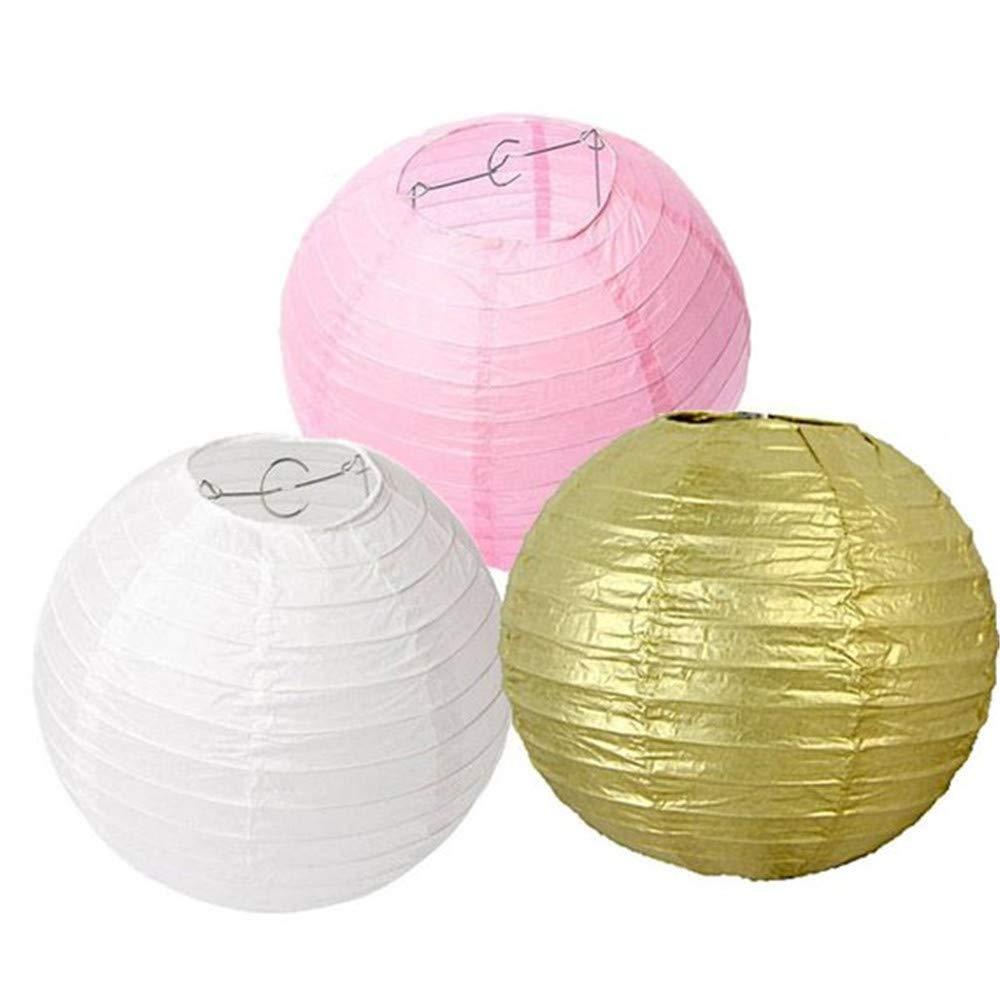 Amazon.com: Set of 9 Mixed Gold Pastel Pink White Paper Lantern Lamp ...