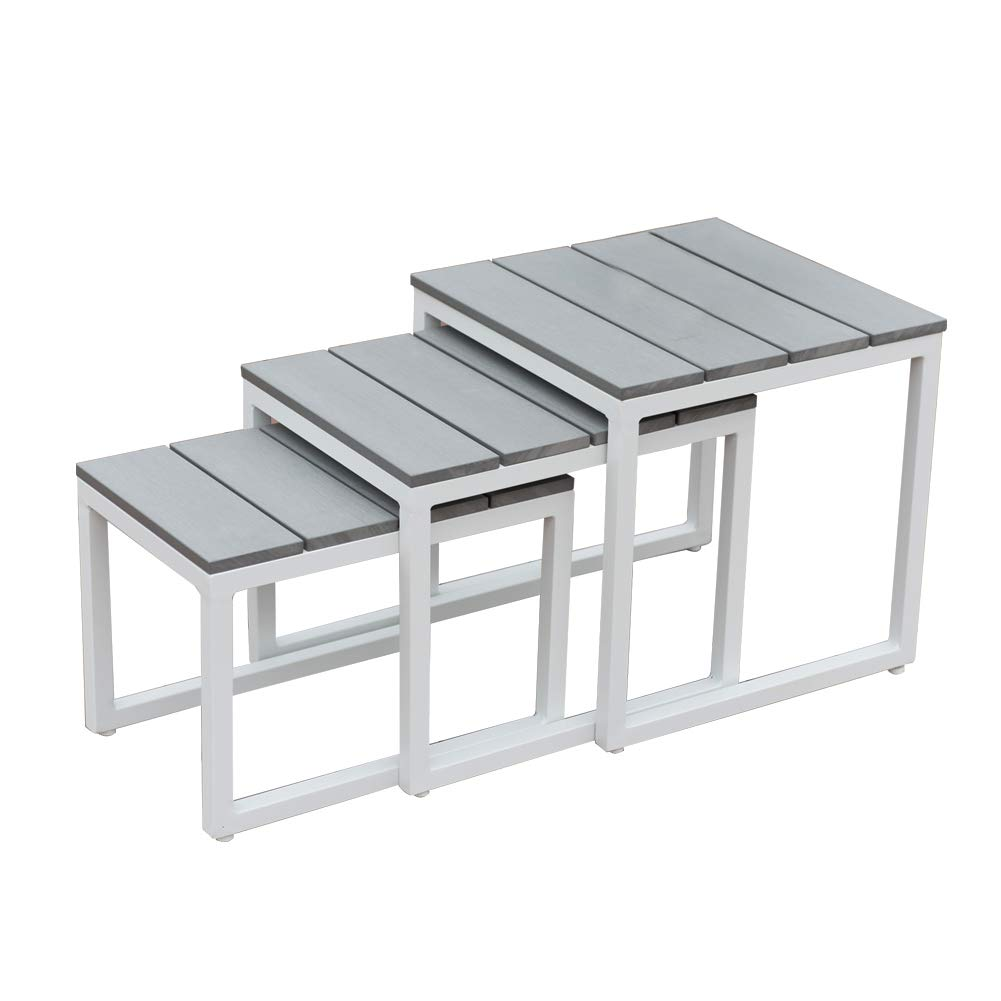 PatioPost Nesting Coffee Side End Tables Modern Furniture Decor for Living Room Balcony Home and Office, Night Stand Table (Grey, Set of 3) by PatioPost