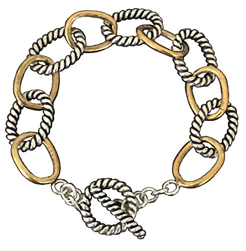 Designer Inspired 18k White and Yellow Gold Plated Chain Cable Twisted Link Bracelet Valentine's Day Gift for Couples