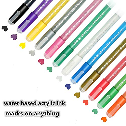 Acrylic Paint Marker Pens, 12 Colors Water Based Painting Pens for Rock, Canvas, Fabric,Ceramic, Glass, Leather, Wood, Paper, Plastic, Dry Easily and Waterproof, Gift for Kids