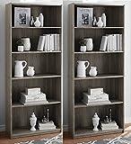 More Sweet Deals Set of 2 Bookcase 5-Shelf Wood Adjustable Shelves Home Offeice Storage – Rustic Oak