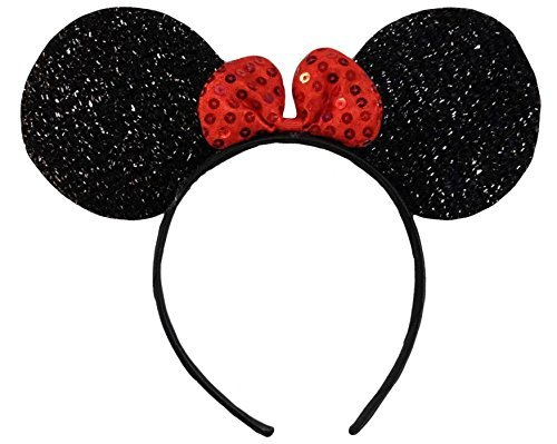 Sequin Minnie Mouse Ears (Sparkly Shimmering Black Red Sequin Bow Minnie Mouse Disney Fancy Dress Party Ears Headband)