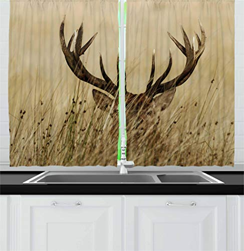 Ambesonne Antler Decor Kitchen Curtains by, Whitetail Deer Fawn in Wilderness Stag Countryside Rural Hunting Theme, Window Drapes 2 Panel Set for Kitchen Cafe, 55 W X 39 L Inches, Brown Sand Brown ()