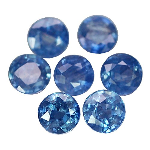 Ploythai 2.19CT STUNNING AA 7PCS 4.0MM ROUND HEATED ONLY BLUE SAPPHIRE NATURAL - Heated Round Blue Sapphire