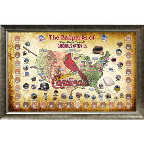 MLB St. Louis Cardinals Major League Baseball Parks Map 20x32 Framed Collage with Game Used Dirt From 30 Parks