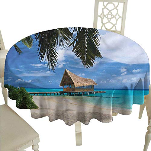 (ScottDecor Fabric Tablecloth Tropical,Diving Club Bungalow Jetty Tassel Tablecloth Round Tablecloth D)