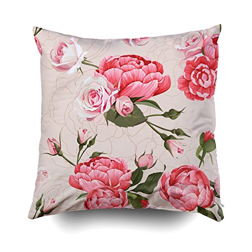 GROOTEY Decorative Cotton Square Pillow Case Covers with Zippered Closing for Home Sofa Decor Size 16X16 Inch Costom Pillowcse Throw Cover Cushio Peony And Roses Vector Seamless Pattern Beige Flowered