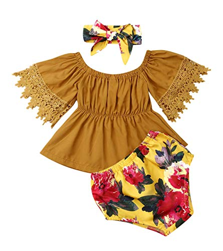 Short Girls Tube (Toddler Short Outfits, Infant Kids Baby Girl Off Shoulder Lace Ruffle Sleeve Crop Tube Tops+ Floral Shorts +Headband (Yellow, 6-12)