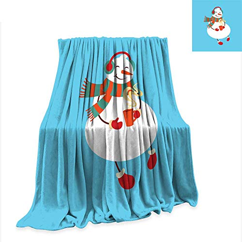 (Warm Microfiber All Season Blanket for Bed or Couch Funny Cartoon Snowman Vector Illustration with Snowman in top hat)