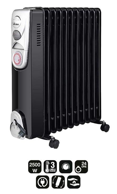 Ardes ar4r11bt Radiador de aceite eléctrico con 11 elementos, 3 Potenze, temporizador y compartimiento enrollacables, 2500 W, Negro/Silver: Amazon.es: ...