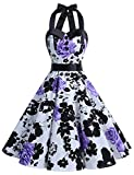 Dressystar Vintage Polka Dot Retro Cocktail Prom Dresses 50's 60's Rockabilly Bandage Purple Flower B XXXL