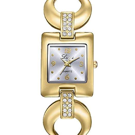 Scpink Relojes de Cuarzo para Mujeres, Liquidación Relojes Femeninos U Letra Patrón de Cristal a