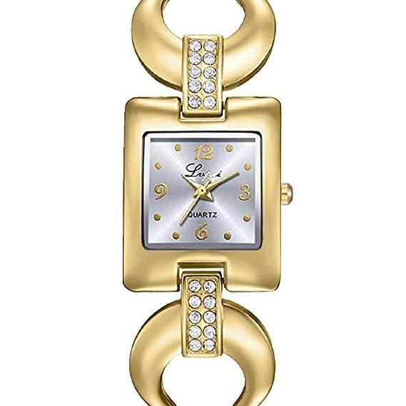 Scpink Relojes de Cuarzo para Mujeres, Liquidación Relojes Femeninos U Letra Patrón de Cristal a la Venta Relojes de señora Relojes de Acero Inoxidable ...