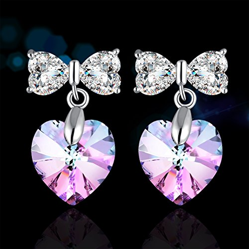 PLATO H 925 Sterling Silver Heart & Butterfly Earrings Set with Swarovski Crystals Valentine's Day Gift for Her