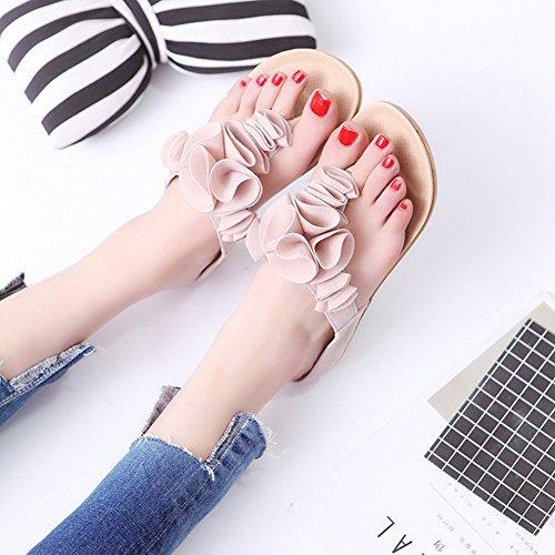 Damesslippers Wipschakelaars Fashion Antislip Strandsandaal Plat Beige