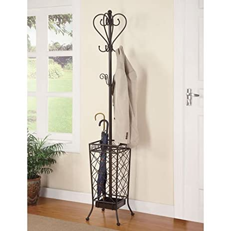 Coaster Home Furnishings 900811 Metal Coat Rack With Umbrella Stand Antique Brown