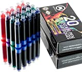 Extra Ink Cartridges for Fountain Pens. Fancy Pack of 20 International, Standard Size Cartridges: Blue, Purple, Green & Red. Perfect for Calligraphy Pen. Universal, Fine Design with Long Lasting Color