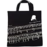 Sound harbor YM-3 Music Element Bag- Pure Cotton Tote Bag -Shopping bags -High Density Thin-Soft Portable (YM-3 black)