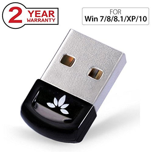 Avantree USB Bluetooth 4.0 Adapter Dongle for PC Laptop Computer Desktop Stereo Music, VOIP, Keyboard, Mouse, Support All Windows 10 8.1 8 7 XP vista - DG40S [2 Year Warranty] (7 Bluetooth)