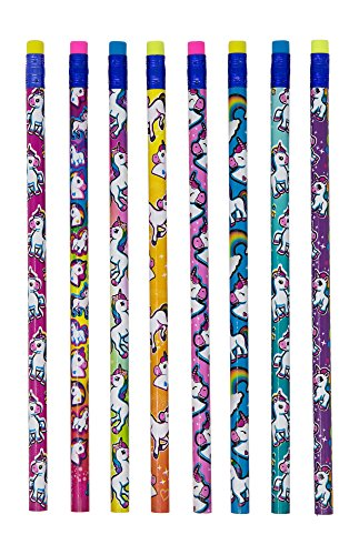 Unicorn Pencil Set (48 Pack): Great for Party Supplies, School, Classrooms, & As Party Favors - Features Assorted Colors & Eraser Tops - 7.5 Inches for Long Lasting Writing