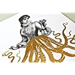 Gold Foil Art Print - Victorian Octopus Lady With Gold Foil Tentacles 8x10 inches 8