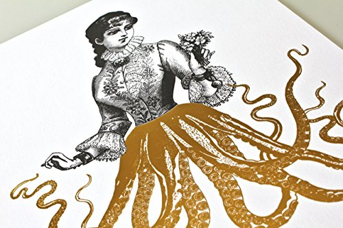 Gold Foil Art Print - Victorian Octopus Lady With Gold Foil Tentacles 8x10 inches 5