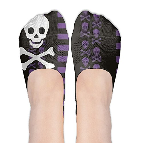 Jadetian Purple Cross Bone Skull Invisible Summer Stealth Ship Socks Low Cut Liner Casual Socks]()
