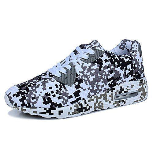 fereshte Unisex Fashion Casual Breathable Running Athlectic Sport Shoes Camouflage Sneakers White Gray uFp44AHX