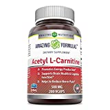 Amazing Nutrition Amazing Formulas Acetyl L-Carnitine Hcl Veggie Dietary Supplement – 500mg, 200 Vegetarian Capsules Per Bottle – Promotes Energy Production, Supporting Brain Heath &Cognitive Function For Sale