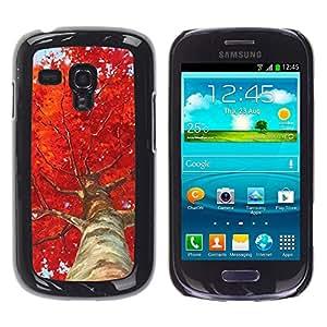For Samsung Galaxy S3 III MINI (NOT REGULAR!) / I8190 / I8190N Case , Tree Birch Red Leaves Nature - Diseño Patrón Teléfono Caso Cubierta Case Bumper Duro Protección Case Cover Funda