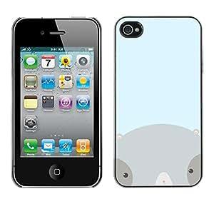 Jordan Colourful Shop - Grey Cute Badger Blue Baby Kids For iPhone 4 / 4S Personalizado negro cubierta de la caja de pl????stico