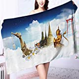 AuraiseHome Made of 100% Premium Cotton Golden Temple Night City Lights Holy Shrine Worship for Men and Women Equally Pict Lightweight, High Absorbency L55.1 x W27.5 INCH