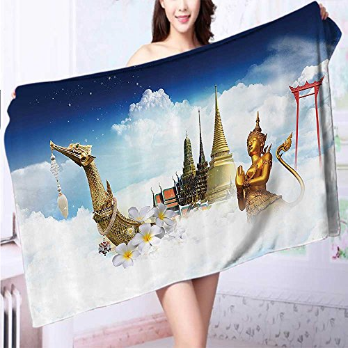 AuraiseHome Made of 100% Premium Cotton Golden Temple Night City Lights Holy Shrine Worship for Men and Women Equally Pict Lightweight, High Absorbency L55.1 x W27.5 INCH by AuraiseHome