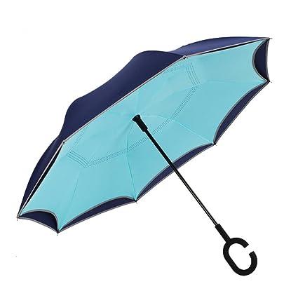 THUNFER Paraguas Paraguas Tipo C Paraguas Reversible Cerrar Paraguas Paraguas Automático Automático Para Dos Niveles,