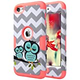 ULAK iPod Touch 6 case, iPod Touch 5 Case [Colorful Series] Luxury Hybrid 3 Layer Silicone Shell Shockproof Hard Case Cover for Apple iPod Touch 5th 6th Gen (Water Red Owl)