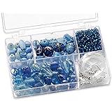 Knorr prandell 216049340 Sortimentsbox Glasperlen (11,5 x 7,5 x 2,5 cm, 80 g) hellblau