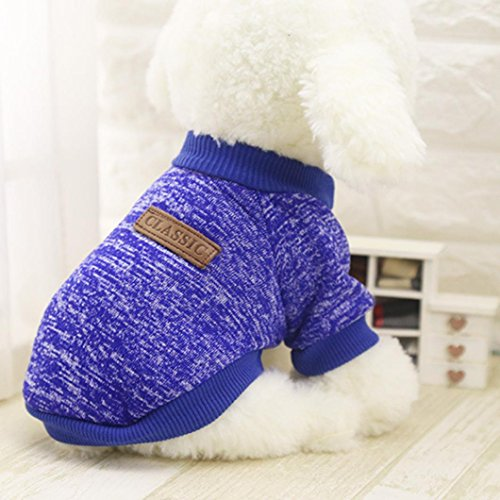 Image of MALLOOM Pet Dog Puppy Classic Sweater Coat Tops Fleece Warm Winter Knitwear Clothes (S, Dark Blue)